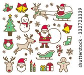 christmas icons | Shutterstock .eps vector #332723339