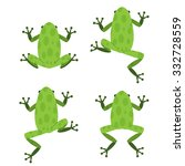 Set Of Green Frog  In Flat...