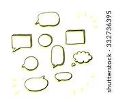 hand drawn speech bubble set.... | Shutterstock .eps vector #332736395