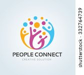 People connect logo, Communication ,family, Social Care, Kids, Sports, vector symbolic marks. | Shutterstock vector #332764739
