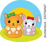 bunny and fox cartoon | Shutterstock .eps vector #332766467