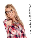 cute blonde girl with glasses... | Shutterstock . vector #332767565