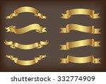ribbon banner set.golden... | Shutterstock .eps vector #332774909