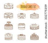 vector cake illustration. set... | Shutterstock .eps vector #332775359