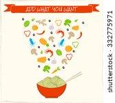 noodles menu with ingredients ...   Shutterstock .eps vector #332775971