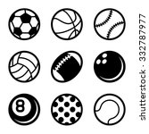 sports balls icons set on white ...