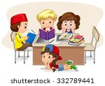children studying in the... | Shutterstock .eps vector #332789441