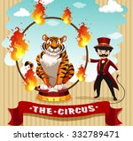 Tiger In Fire Hoop And Ring...