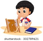 Boy Calculating With Abacus...