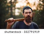 brutal brunette bearded man in... | Shutterstock . vector #332791919