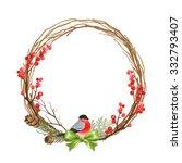 Christmas Wreath With Bullfinc...