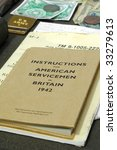 military instruction booklet and other documents from 1942 - stock photo