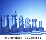 transparent glass chess in a row | Shutterstock . vector #332804651