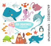 big set of cartoon sea... | Shutterstock .eps vector #332805749