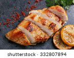 roast chicken breast with lemon ... | Shutterstock . vector #332807894
