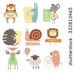 cute animals with ribbons and... | Shutterstock .eps vector #332813465