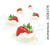 strawberries falling into cream ... | Shutterstock . vector #33281578