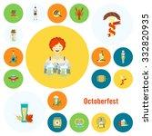 oktoberfest beer festival. flat ... | Shutterstock . vector #332820935