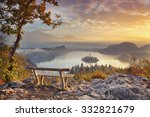 Stock photo autumn lake bled lake bled with small bled island during autumn sunrise bled slovenia europe 332821679
