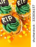 cupcakes with green icing... | Shutterstock . vector #332836157