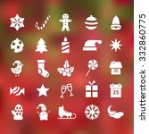 set of 25 christmas flat icons... | Shutterstock .eps vector #332860775
