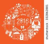 vector circular wreath ... | Shutterstock .eps vector #332862881