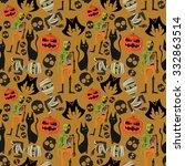 vector halloween seamless... | Shutterstock .eps vector #332863514