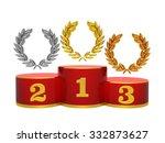 gold  silver and bronze wreath... | Shutterstock . vector #332873627