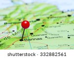Small photo of Barinas pinned on a map of America
