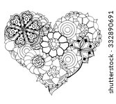 Hand Drawn Heart Of Flower...