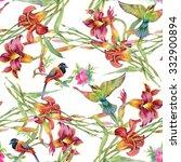 summer garden blooming... | Shutterstock . vector #332900894