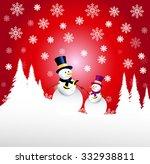 snowmen   christmas greetings | Shutterstock .eps vector #332938811