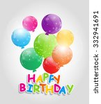 color glossy balloons happy... | Shutterstock . vector #332941691