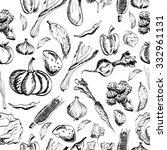 hand drawn vegetables set on a... | Shutterstock . vector #332961131