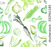 hand drawn vegetables set on a... | Shutterstock . vector #332961185