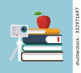 stack of books  apple and... | Shutterstock .eps vector #332971697
