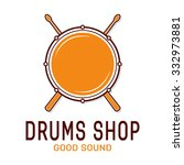 vector drum icon with sticks.... | Shutterstock .eps vector #332973881