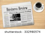 business newspaper with a cup... | Shutterstock . vector #332980574