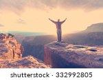 happy man in mountains....   Shutterstock . vector #332992805