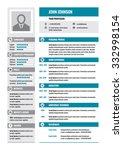 resume cv   vector concept... | Shutterstock .eps vector #332998154