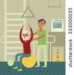 elderly senior doing exercise... | Shutterstock .eps vector #333000035