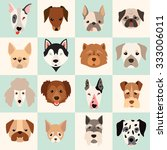 dogs head icon set  vector flat ... | Shutterstock .eps vector #333006011