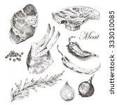 vector steak meat hand drawing... | Shutterstock .eps vector #333010085