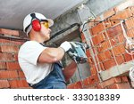 builder worker with pneumatic... | Shutterstock . vector #333018389