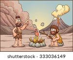a couple of cavemen discussing... | Shutterstock .eps vector #333036149