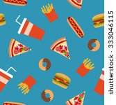 fast food flat style seamless...   Shutterstock .eps vector #333046115