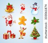 Set Icons For Christmas Toon