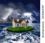 House In The Sea During A Storm