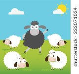 black sheep and white sheep in... | Shutterstock .eps vector #333071024