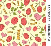 roses  hearts and candy vector... | Shutterstock .eps vector #333087791